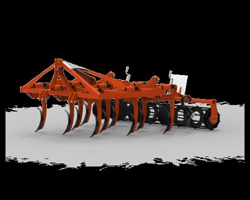 2-reihige bodenbearbeitungsmaschine mit festem stoppelmeißelpflug